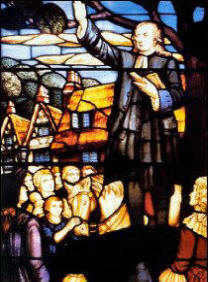 John Wesley stained glass window by Ed Moultrie from cover of the book.